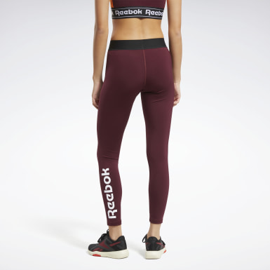Women Fitness & Training Burgundy Training Essentials Linear Logo Leggings