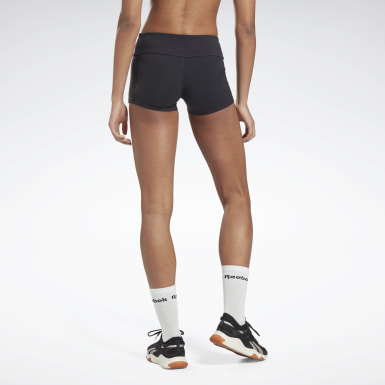 Women Training Black Reebok Chase Solid Booty Shorts
