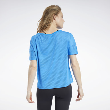 Women Fitness & Training Blue Perforated Tee