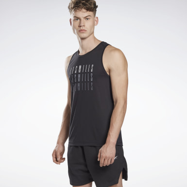 Men Studio Black LES MILLS® Supremium Sleeveless T-Shirt
