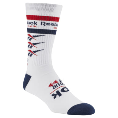 Classics White Classics Vector Graphic Crew sock