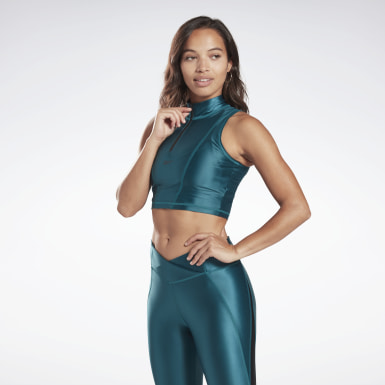 Women Studio Zip Cropped Tank Top