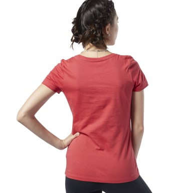 Remera Reebok Linear Read Scoop Neck Rojo Mujer Fitness & Training