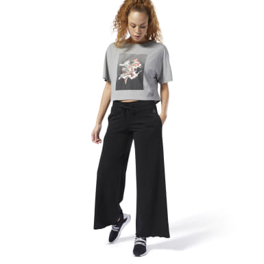Women Studio Black Dance Wide Leg Pants