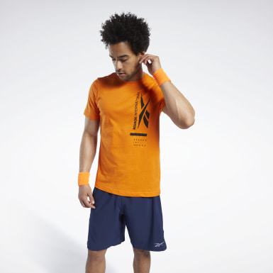 Men Training Orange Graphic Tee