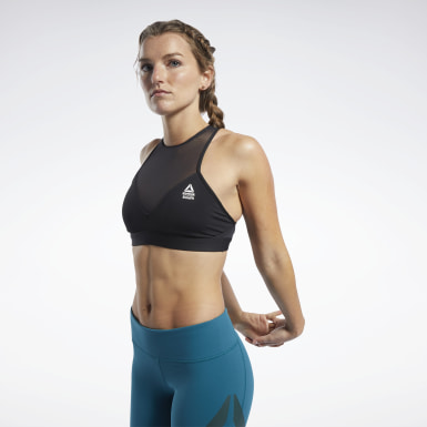 Dames Crosstraining Zwart Reebok CrossFit® Medium-Impact Mesh Beha