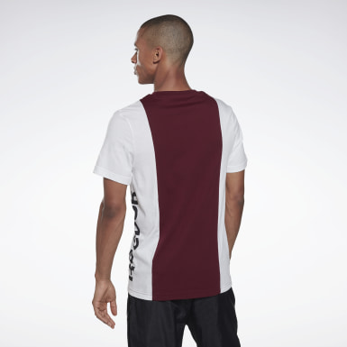 Herr Fitness & Träning Burgundy Training Essentials Linear Logo Tee