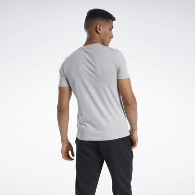 Men Training Grey Graphic Short Sleeve Tee