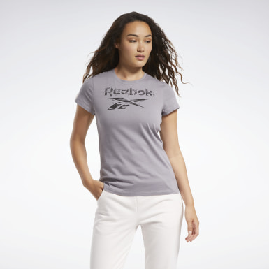 Women Cross Training Grey Training Essentials Stacked Logo Tee