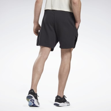 Pantalón corto LES MILLS® 7-Inch French Terry Negro Hombre Yoga