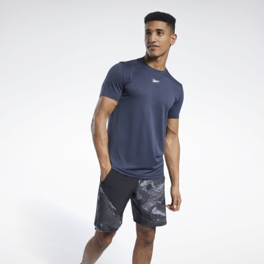 Men Fitness & Training Blue Workout Ready Mélange T-Shirt