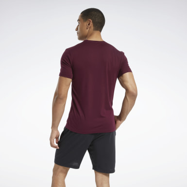 Men Fitness & Training Burgundy Graphic Series Linear Logo Tee