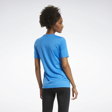 Women Fitness & Training Blue Workout Ready Supremium Tee