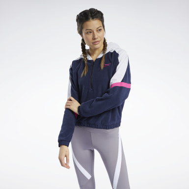 Felpa con cappuccio MYT con zip a 1/4 Blu Donna City Outdoor