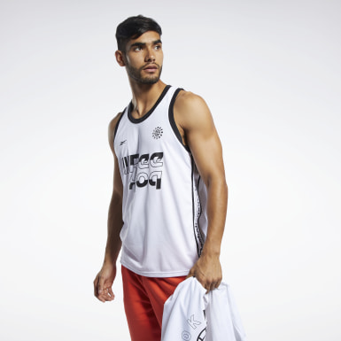 Heren Basketbal Wit Meet You There Basketbal Tanktop