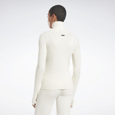 Women Fitness & Training White VB Roll Neck Sweater
