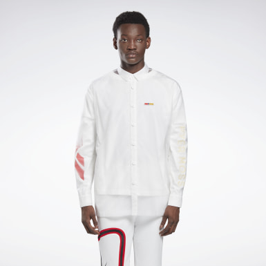 Classics White Reebok by Pyer Moss Long Sleeve Button-Down Long-sleeve Top