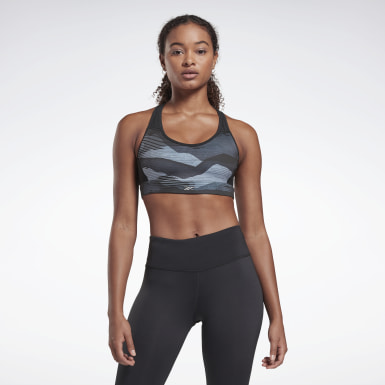 Women Trail Running Black Run Lux Medium-Impact Racer Bra