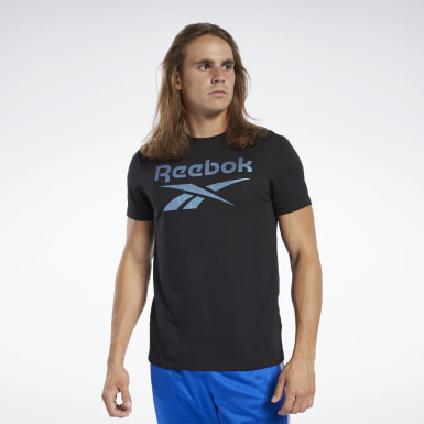 Herr Cross Training Svart Graphic Series Reebok Stacked Tee