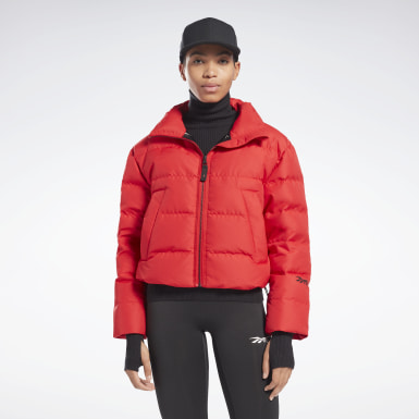 Women Fitness & Training Red VB Cropped Puffer Jacket