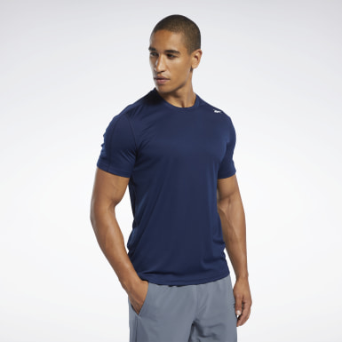 Men Hiking Blue Workout Ready Polyester Tech Tee
