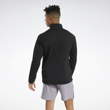 Men Outdoor Black Workout Ready Doubleknit Quarter Zip Jacket