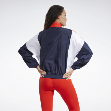 Chaqueta Training Essentials Woven Linear Logo Azul Mujer Fitness & Training
