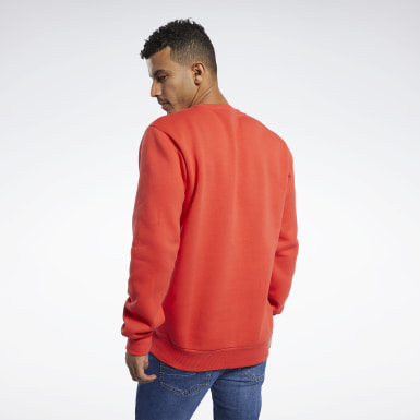Men Classics Red Classics Linear Crew Sweatshirt