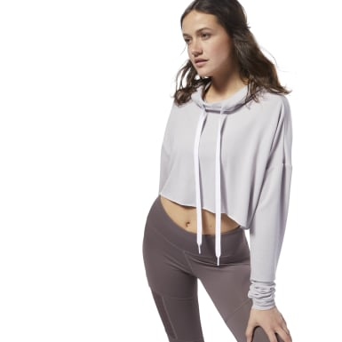 Women Studio Purple Dance Crop Hoodie