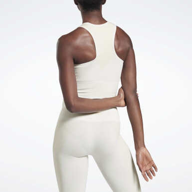 Women Yoga White VB Seamless Crop Top