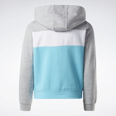 Girls Fitness & Training Turquoise Reebok Colorblock Hoodie