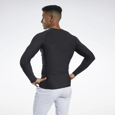 Men Hiking Black Compression Printed Long Sleeve Tee