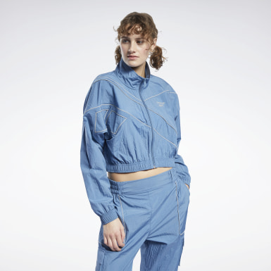 Women Classics Blue Classics Cropped Track Jacket