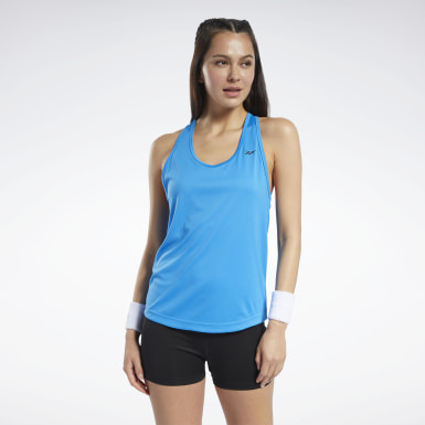 Women Fitness & Training Blue Mesh Back Tank Top