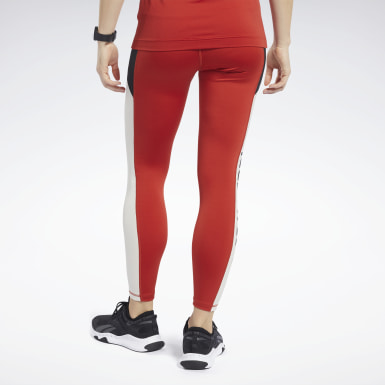Women Pilates Red Workout Ready Logo Tights