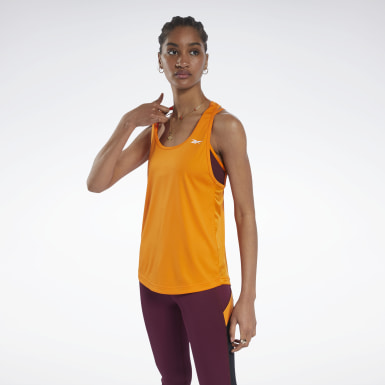 Women Training Orange Mesh Back Tank Top