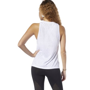 Camiseta sin mangas Burnout Blanco Mujer Fitness & Training