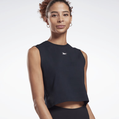Top cropped sin mangas Vector Cotton Negro Mujer HIIT