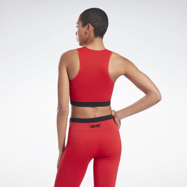 Top VB Seamless Crop Rosso Donna Fitness & Training