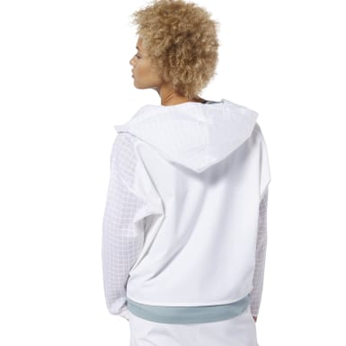 Women Training White Training Supply Hybrid Woven Jacket