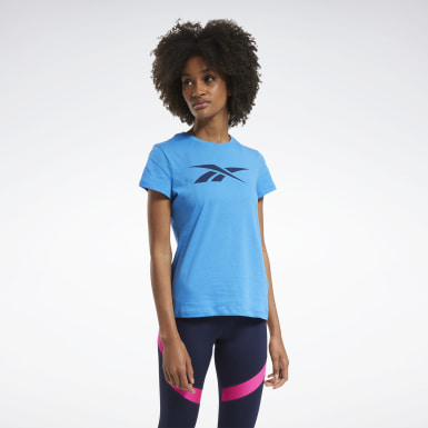 Women Fitness & Training Blue Training Essentials Vector Graphic T-Shirt