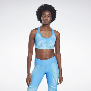 Women Studio Blue Reebok Hero Medium-Impact Racer Bra