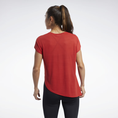 Women Pilates Red Workout Ready ACTIVCHILL Tee