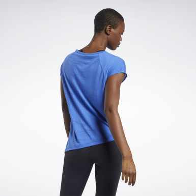 T-shirt semi-transparent Bleu Femmes Yoga