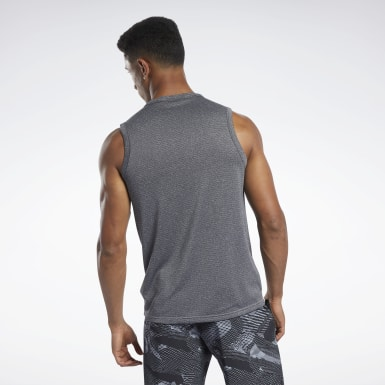 Men Studio Black Workout Ready Melange Tank Top