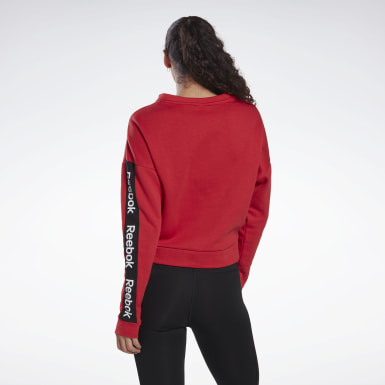 Women Fitness & Training Red Linear Logo Crew Sweatshirt