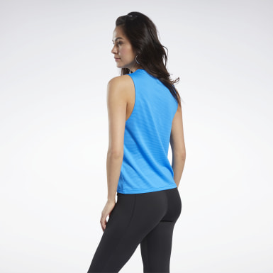 Women Training Blue Mesh Tank Top