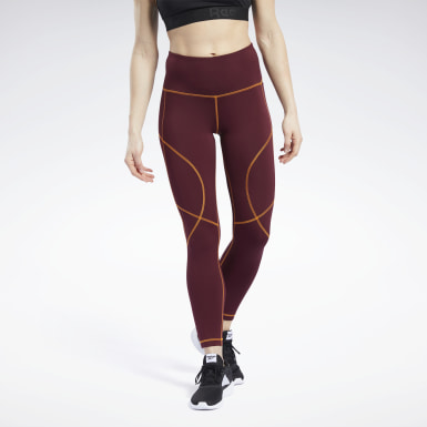 Women Fitness & Training Burgundy MYT Contrast Stitch Tights