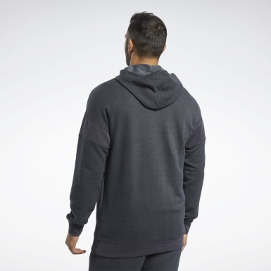 Men Fitness & Training Black Training Essentials Melange Hoodie