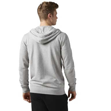 Men Fitness & Training Grey French Terry Full-Zip Hoodie